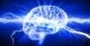 human brain with lightnings